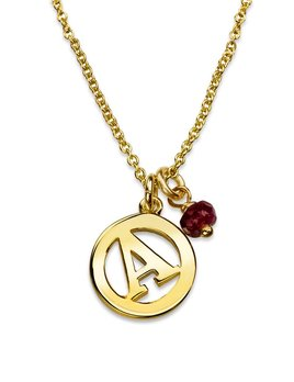 Me & My Initial Necklace with Ruby by Luke Rose