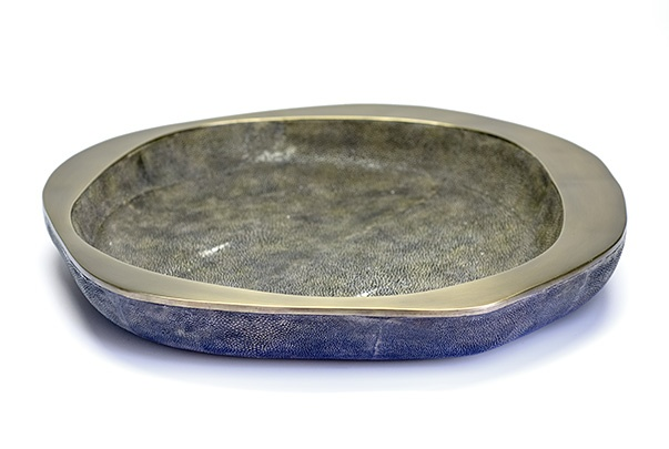 R&Y Augousti R&Y Augousti - Large Bowl with Bronze Detail - Vintage Black Shagreen - 40cm - Currently by Order Only - Delivery 6 weeks