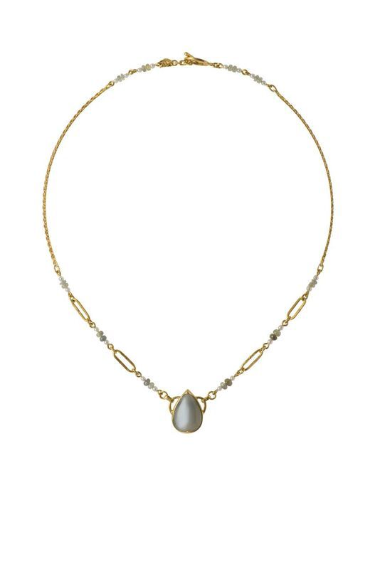 Lisa Black Jewellery - Moonstone Empire Necklace - 22ct gold