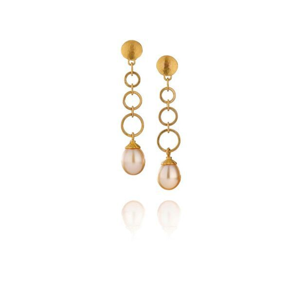 Lisa Black Jewellery Golden Vermeer Drop Earrings Australian South Sea Pearl 22ct Gold