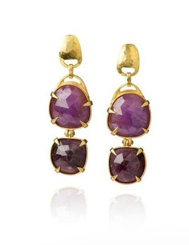 Lisa Black Jewellery - Ruby Jayne Hinge Double Drop Earrings with Faceted Corundum Ruby - 22ct Gold - Handmade in Australia