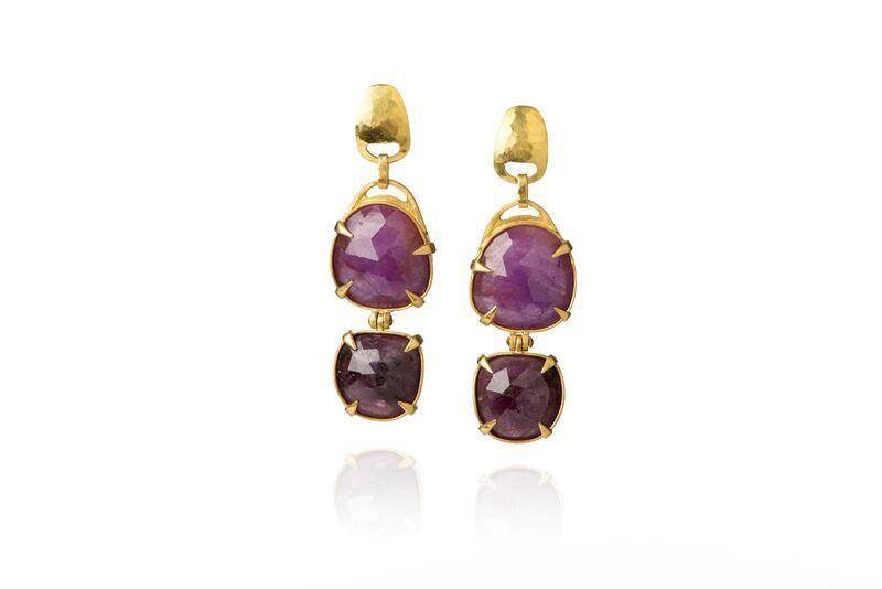 Lisa Black Jewellery - Ruby Jayne Hinge Double Drop Earrings with Faceted Corundum Ruby - 22ct Gold - Handmade in Australia