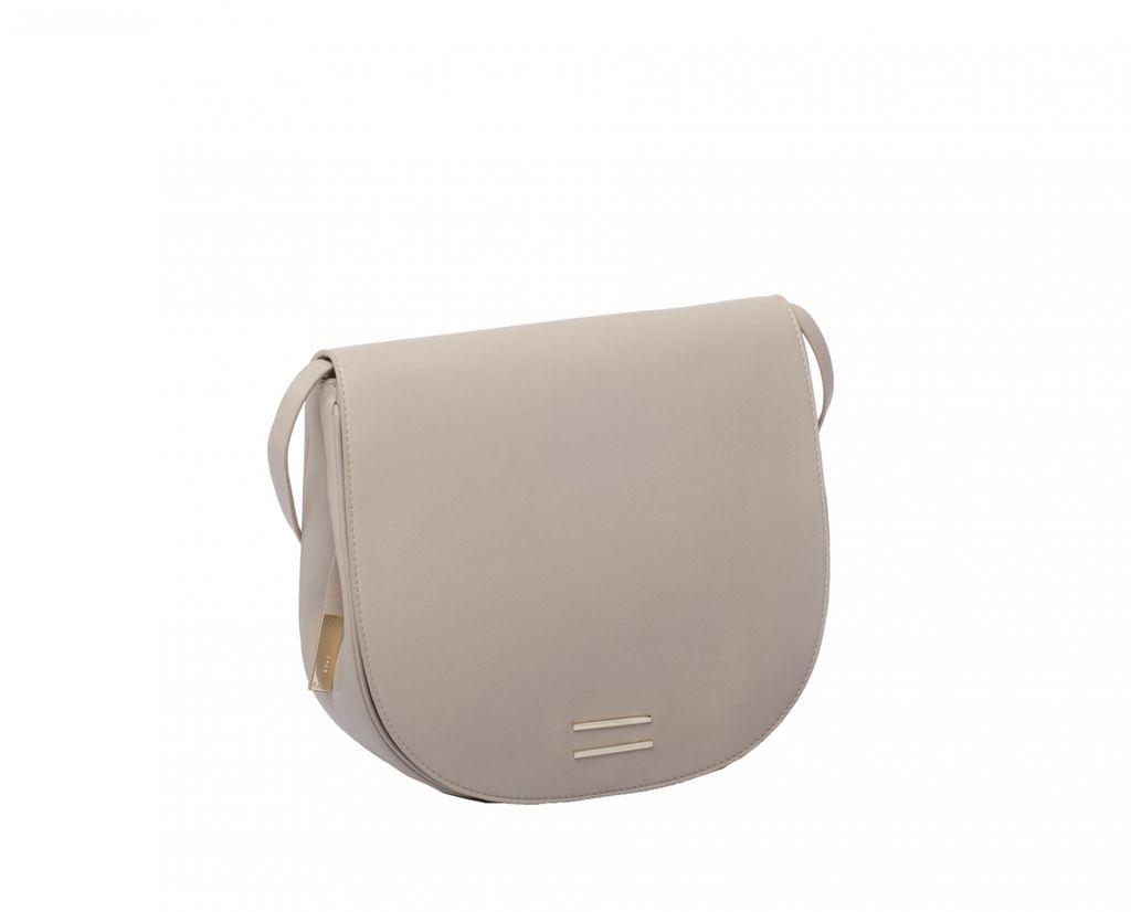 Front Row Society - Lara - Leather Saddle Handbag - Beige - 22x25x9cm