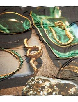 BECKER MINTY Mr.MINTY x GOOD&Co Scarf - #Green&Gold - 100% Silk - 160x130cm
