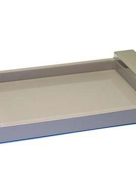 riviere Riviere - Lacquared Tray - Leather handle with chrome detail - Grey - 20x30