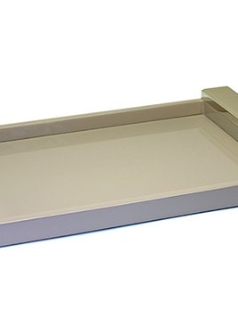 riviere Riviere - Lacquared Tray - Leather handle with chrome detail - Grey - Handmade in Italy - 26x39