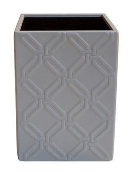 riviere Riviere - Leather Wastebasket - Embossed Octagon Motif - 100% Leather - Grey - 23x23x30