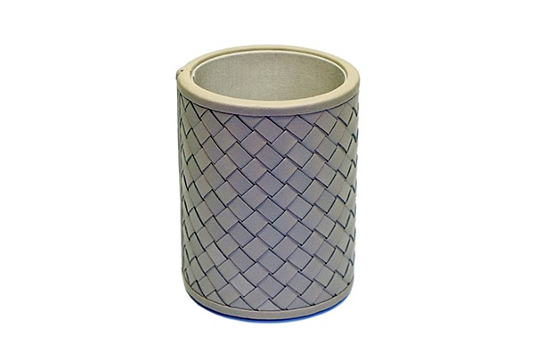 riviere Riviere - Round Leather Pen Cup - Handwoven Leather - Grey - Handmade in Italy - 11x8