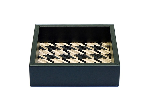 riviere Riviere - Black Leather Tray -Woven houndstooth lining - 15x15