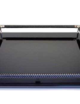 riviere Riviere - Lacquared Square Tray - Handbraided leather raiiling with chrome detail - Blk - Handmade in Italy - 40x40