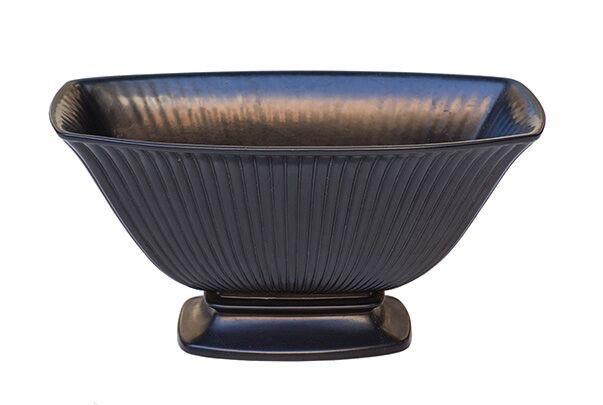 Vintage Wedgwood - Rectangular bateau vase - Ravenstone (matte black finish)  - 11.5x23cm - UK c.1960