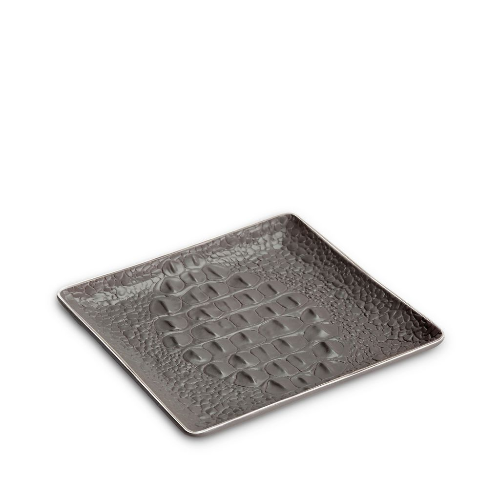 L'Objet L'Objet - Grey Crocodile Square Desk  Tray or Catch All  - Porcelain with Platinum Plated Detail - 15x15cm