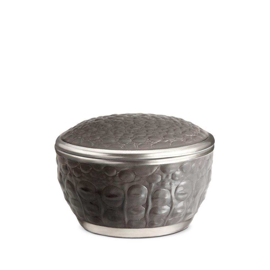 L'Objet L'Objet - Grey Crocodile Round Box - Porcelain with Platinum Plate Detail - 9x6cm