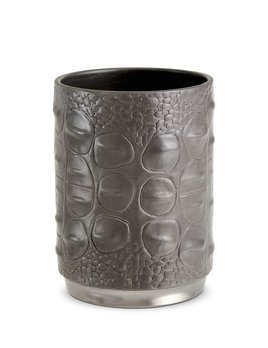 L'Objet L'Objet - Gey Crocodile Pencil Cup - Porcelain with Platinum Plated Detail - 7x10cm