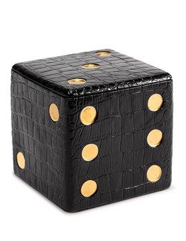 L'Objet L'Objet - Black Crocodile Dice Decorative Box - Porcelain with 24ct gold plated detail - 11x11x11cm
