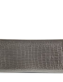 L'Objet L'Objet - Grey Crocodile Rectangular Tray - Porcelain with Platinum Detail -  30x15cm
