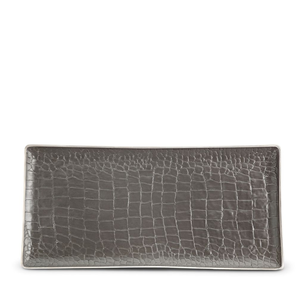 L'Objet L'Objet - Grey Crocodile Rectangular Tray - Porcelain with Platinum Detail -  30x15cm