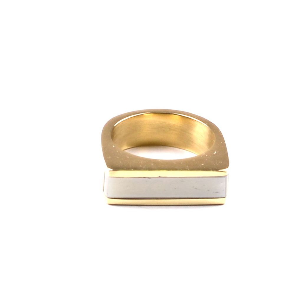 Soko Horn Line Ring - Horn with brass - White