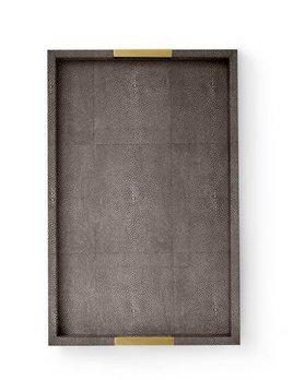 Aerin AERIN - Modern Chocolate Embossed Shagreen Desk Tray - 37.5x24x4.5cm