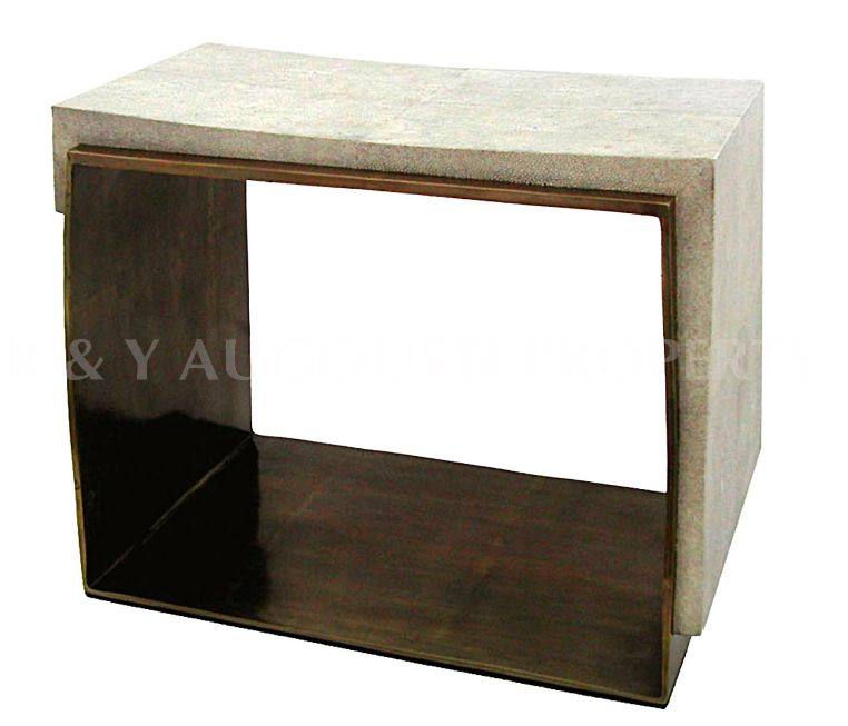 R&Y Augousti R&Y Augousti - Stool with metal  detail - Antique Shagreen - 48x58x33cm