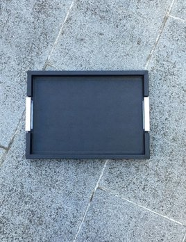 giobagnara Small Victor Leather Tray with Chrome Handles - Giobagnara for Becker Minty - Black - 27x38cm H3.5cm - Made in Italy