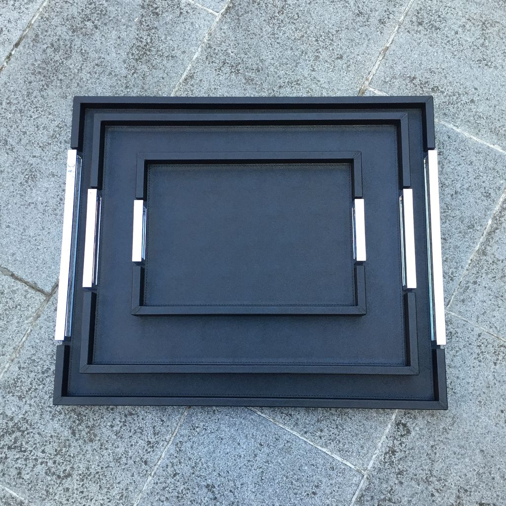 B.Home Interiors Small Victor Leather Tray with Chrome Handles - Giobagnara for Becker Minty - Black - 27x38cm H3.5cm - Made in Italy