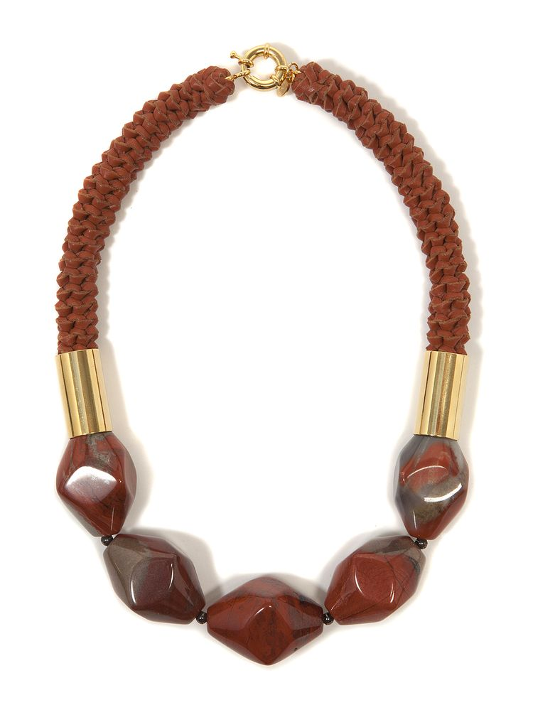 2 by lyn and tony Terra -  Woven Kangaroo Leather Necklace with Mookite Stones by 2 By Lyn&Tony