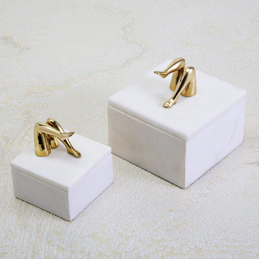 Kelly Wearstler Kelly Wearstler - Mini Coquette Box  - White Calacatta Marble with Burnished Bronze