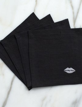 Kelly Wearstler Kelly Wearstler - Kiss Cocktail Napkins - Black Linen
