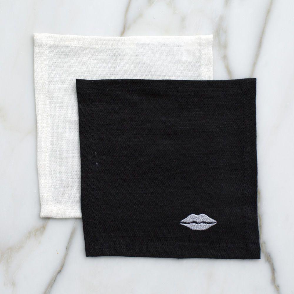 Kelly Wearstler Kelly Wearstler - Kiss Cocktail Napkins - Black Linen - set 4