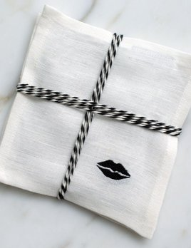 Kelly Wearstler Kelly Wearstler - Kiss Cocktail Napkins - White Linen