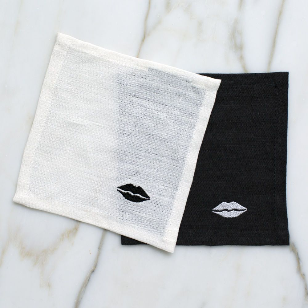 Kelly Wearstler Kelly Wearstler - Kiss Cocktail Napkins - White Linen - set 4