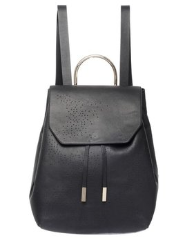 See Me Now Front Row Society - Laura Backpack - Collaboration with Louise Gibson - Black Perforated Leather - 40x37x19cm