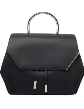See Me Now Front Row Society - Georgia - Leather Handbag with Half Leather and Metal Handle  - 28x34x16cm