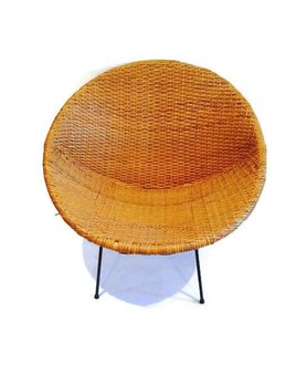 BECKER MINTY Vintage Mid Century Modern Woven Rattan Hoop or Saucer Chair c1960 - H74 x W79 x D72