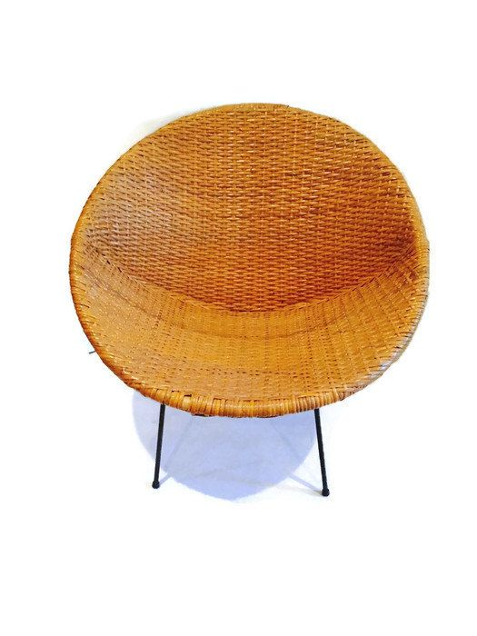 BECKER MINTY Vintage Mid Century Modern Woven Rattan Hoop Or Saucer Chair  C1960   H74 X ...
