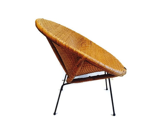 BECKER MINTY Vintage Mid Century Modern Woven Rattan Hoop or Saucer Chair c1960 - H74 x W79 x D72