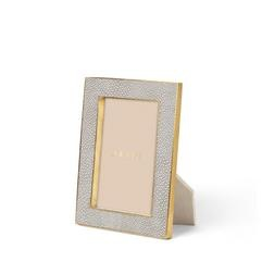 """Aerin AERIN - Classic Embossed Shagreen Frame -  Dove Grey 4x6"""""""