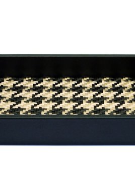 riviere Riviere - Black Leather Tray -Woven houndstooth lining - 24x18