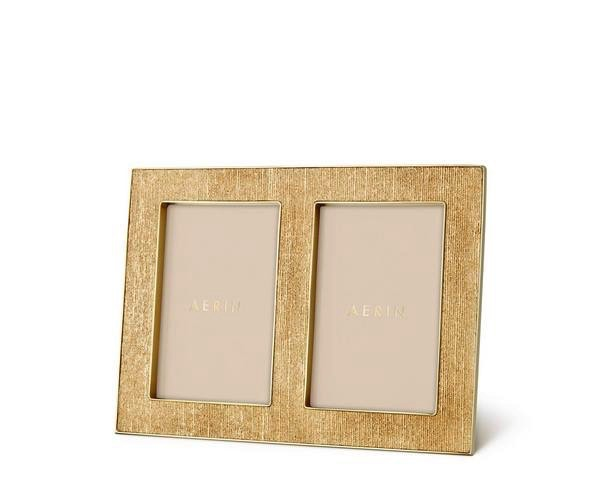 Aerin AERIN - Classic Gold Linen Double Frame