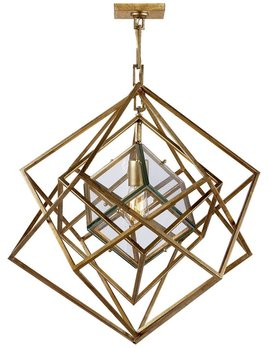 "Kelly Wearstler Kelly Wearstler - Cubist Small Chandelier in Gold Gilded Nickel - Fixture Height: 25.5"" Width: 22"" Canopy: 4.5"" Square"