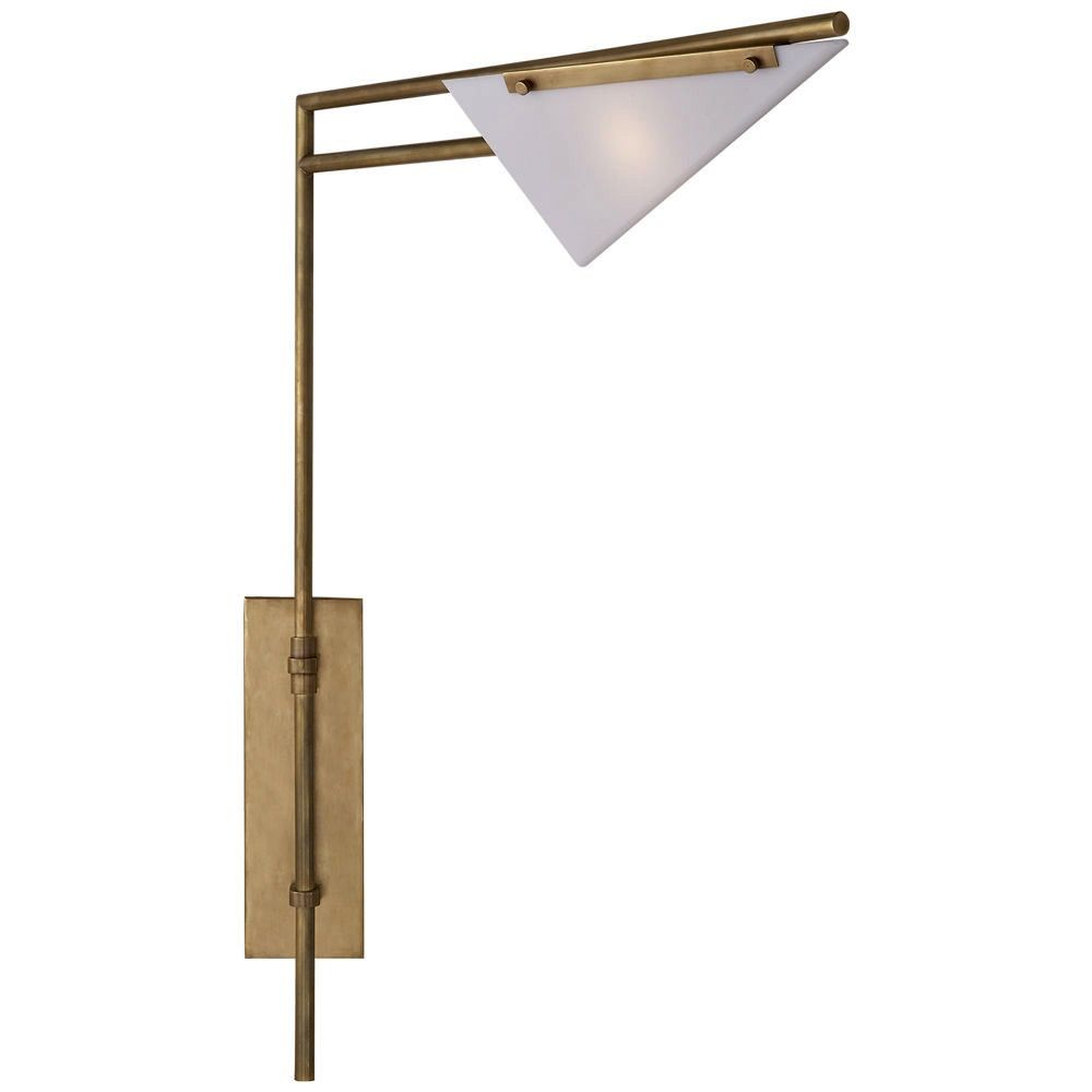 Kelly Wearstler Kelly Wearstler - Forma Swing Arm Sconce in Antique Burnished Brass with White Glass
