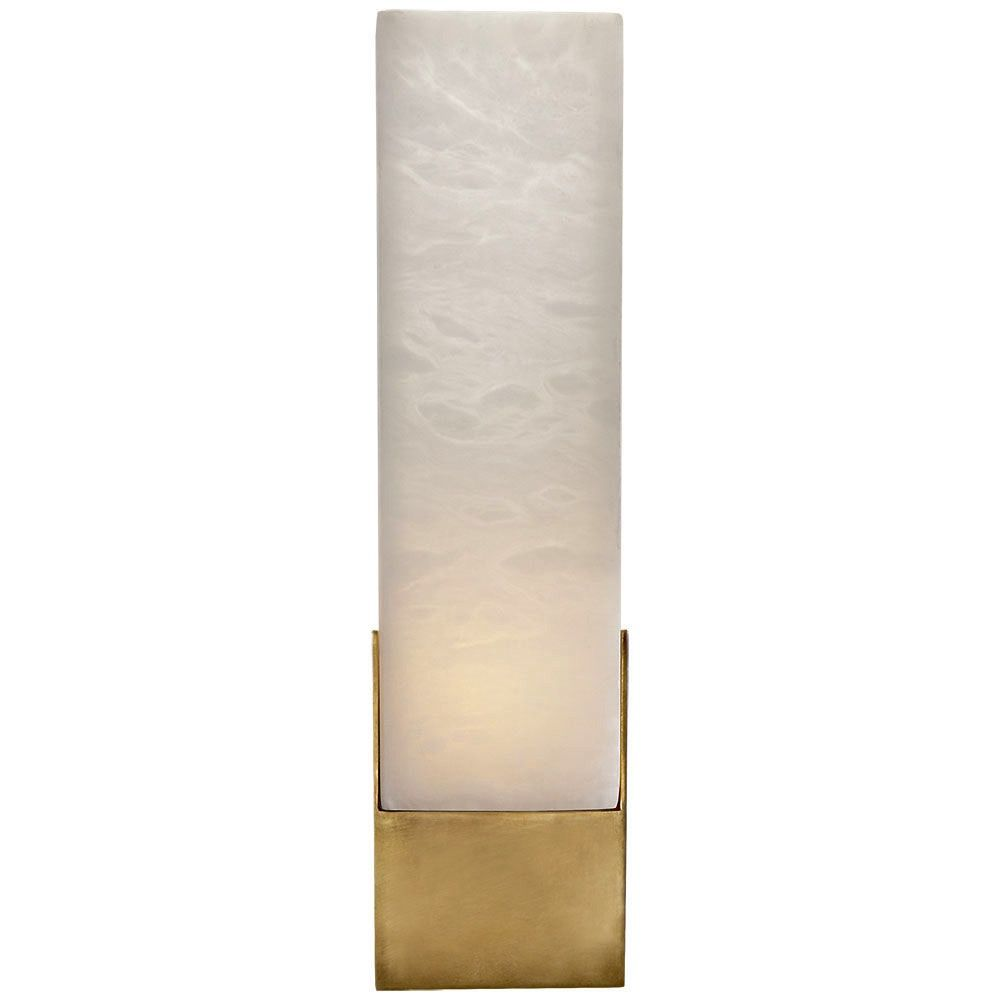 Kelly Wearstler Kelly Wearstler - Covet Tall Box Bath Sconce Lamp in Antique Burnished Brass and Alabaster