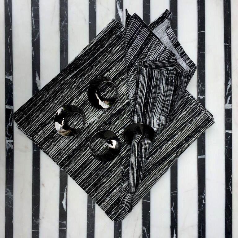 #$% BECKER MINTY - Gunmetal  Napking Rings - Set of four