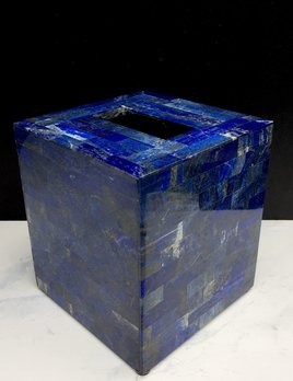 BECKER MINTY Exquisite Lapis Inlay Tissue Box Holder - Brick Pattern - 13.5 x 13.5 x 15cm
