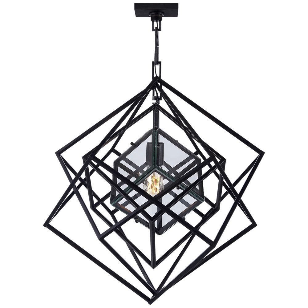 "Kelly Wearstler Kelly Wearstler - Cubist Small Chandelier in Aged Iron - Fixture Height: 25.5"" Width: 22"" Canopy: 4.5"" Square"