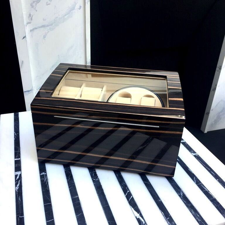 BECKER MINTY Ebony Veneer Double Watch Winder.