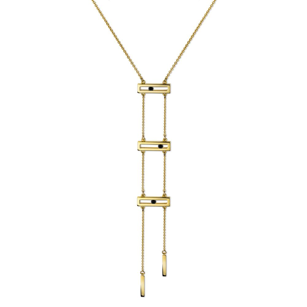 Black Diamond Slide Ladder Necklace by Luke Rose