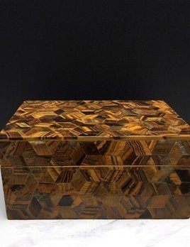 BECKER MINTY Exquisite Tigers Eye Inlay Box with Removable Lid - 18.5x13x8.5cm