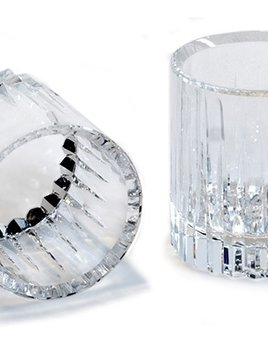 BECKER MINTY BECKER MINTY - Crystal Glass Tumbler with Linear Cut Design and Bevelled Lip - Clear